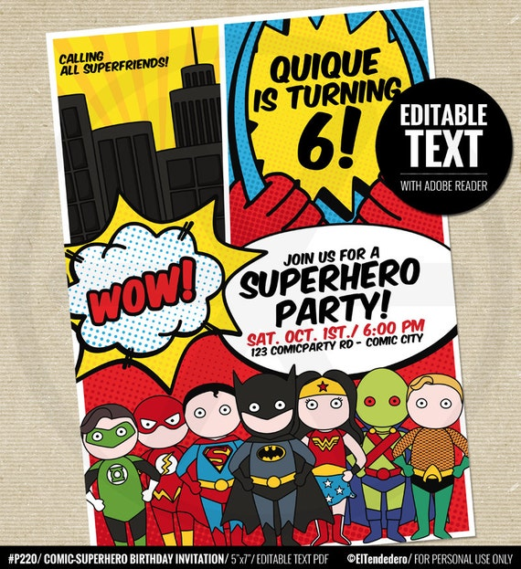 Justice League Invitations Free: Justice League Party Invitation Justice League By Eltendedero