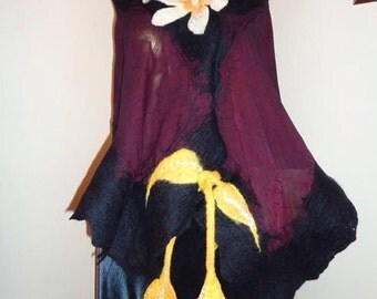 Nuno felted shawl on silk fabric