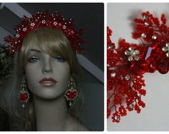 Asian Style Red Rhinestone Pin On Haiwear Headband Tiara