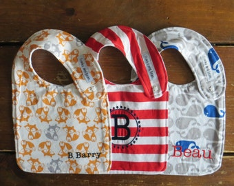 You Design 3 Custom Personalized Bibs:  Set of 3 Baby/Toddler Personalized Side Snap Bibs