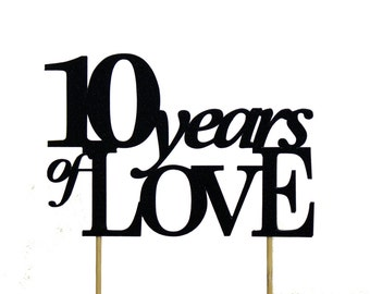 Black 10-years-of-love Cake Topper, 1pc