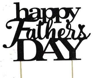 Black Happy Father's Day Cake Topper, 1pc