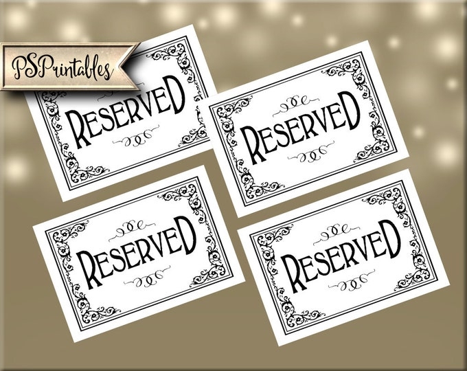 Reserved Signs - instant download PRINTABLE digital file - great for weddings and events - chair signs - Traditional black tie collection