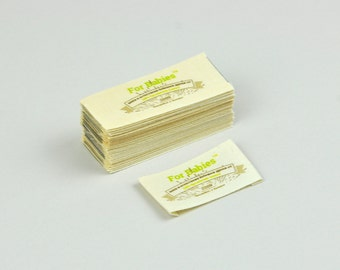 25 custom design, fabric labels, natural label, designer t-shirt  label, 25pcs with Direct full-color printing on fabric