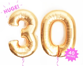 "Giant ""30"" Balloons - Copper Rose Gold Number Balloon - 40"" - Mylar Foil Megaloon - Alphabet Letter Number - Large / Jumbo 3' foot Helium"