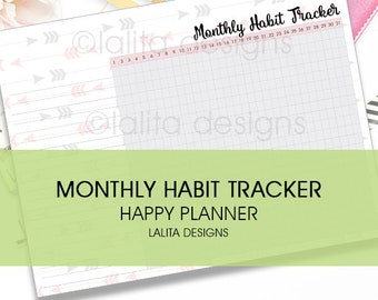 Monthly Habit Tracker Printable Insert for use with Happy Planner and Erin Condren LIFEPLANNER™