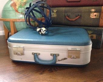 Vintage Suitcase, Aero-Pak, Blue Suitcase, Industrial Decor, Suitcase Stack