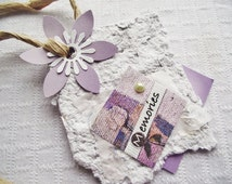 Recycled Handmade Paper,Lavender Homemade PAPER Tag,Gift Tag,Scrapbook Tag,Scrapbook Life Book SMASH Book Journal Embellishment