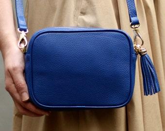 Free shipping! Blue bag, leather bag, blue leather bag, blue crossbody, blue shoulder bag, everyday bag, small blue bag, casual bag