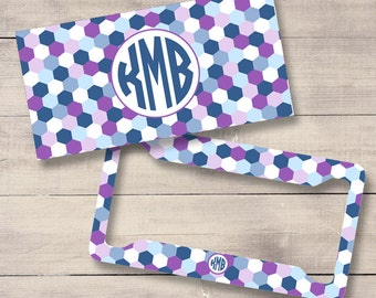 Geometric Personalized License Plate and Frame, Monogram License Plate, Monogram Car Tag, Purple Blue Car Tag (0029)