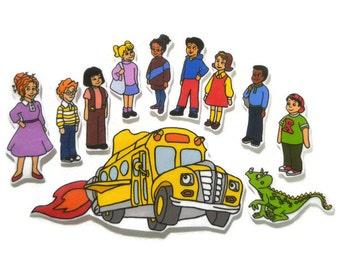 Felt board, School Bus friends, homeschool, felt board piece, flannel board, felt board story, quiet book, busy book, felt story, montessori