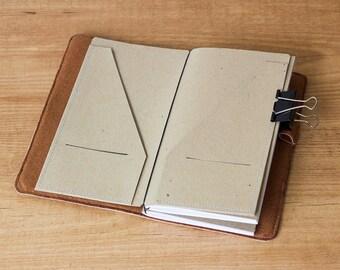 Kraft paper folder for Traveler's Notebook, Regular size, Folder insert, Card holder, Midori accessories, Midori insert