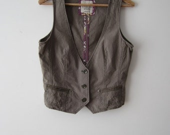 ON SALE Women's Vest Striped Vest Brown Green Pink Vest Fitted Everyday Waistcoat Medium to Large Size