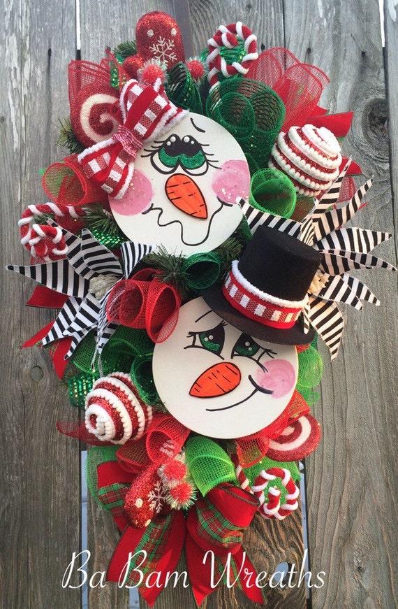 Snowman wreath snowmen swag snowman decor snowman by for Snowman design ideas