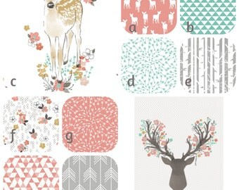 Fawn in Tulip Woodland Crib Bedding Girl Patchwork Baby Toddler Quilt Crib Skirt Sheet Pink Mint Deer Buck Stag Rail Cover Changing Pad