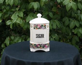 Large Vintage Czechoslovakian Covered Porcelain Sugar Canister