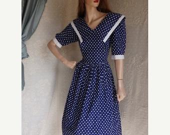 Clearance 50s LOLITA Dress / 50s Pin Up Sailor Dress / Vintage Polka Dot Swing Dress/ 40s Pin up girl dress / Rockabilly Swing Dress / 80s P