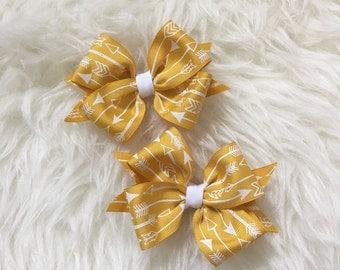 Mustard Yellow Arrow Printed Hairbows- Girl Hairbow Set