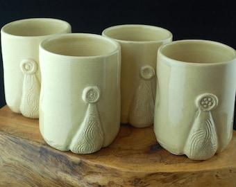 Handmade Ceramic tumbler set of 4; ceramic cups, carved ceramic water mugs, tumblers, rustic pottery