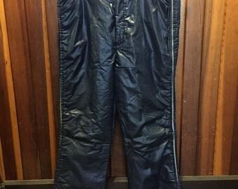 MATT ANDREWS Waterproof // 1970s Navy Blue Puff Pants