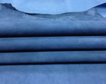 Blue suede fabric, genuine sheep suede, blue natural lamb skin, blue genuine  leather material, sold per piece