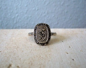 Vintage Sterling Silver Natural Marcasite Ring