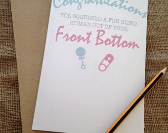 New Baby New Mum Card - Freshly Squeezed Human front bottom - Comedy, Novelty, Funny, Blunt JS65