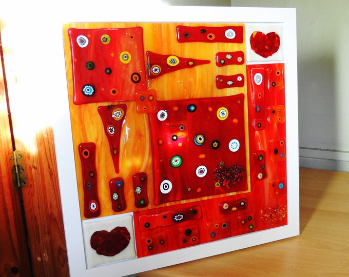 Fused glass wall art. Unique abstract hanging artwork panel. Home decor. Gifts for her him. Red and orange handcrafted ornament. Giftware.