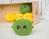 Green lime lemon, Crochet Bay toy, Soft eco-friendly amigurumi fruit toy, newborn gift , kawaii play food plush toy