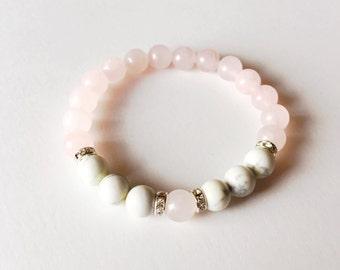 Healing Anger, Rose Quartz White Howlite Healing Jewelry Intention Bracelet Yoga Jewelry Mala Beads Healing Bracelet