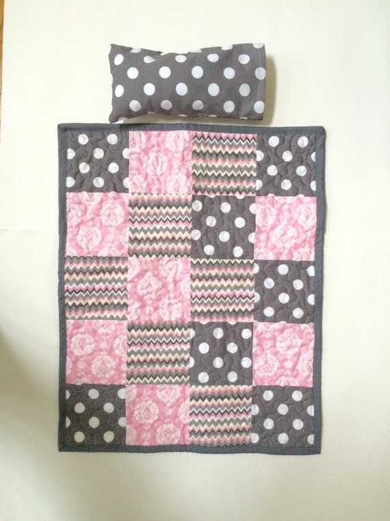 Doll quilt, matching doll quilt set, pink and gray doll quilt