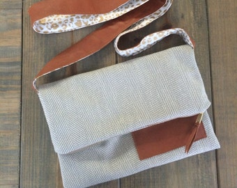 SALE-Grey and Camel Herringbone Purse