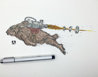 KillerBeeMoto: Pen Sketch With Water Color of a Rabbit Flying With Jet Pack - Reproduction Print