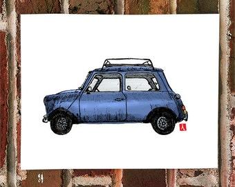 KillerBeeMoto: Limited Hand Drawn Prints Vintage Mini Cooper 1 of 25