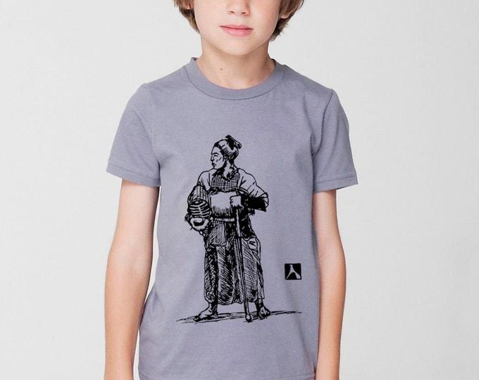 KillerBeeMoto: Hand Drawn Graphic of Samurai in Kendo Armor Short & Long Sleeve T-Shirts