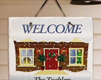 Personalized Welcome Sign, Christmas Welcome Plaque,