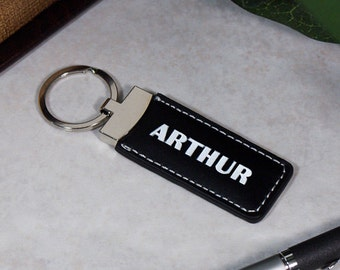 Personalized Leather Key Ring, Key Chain, Black