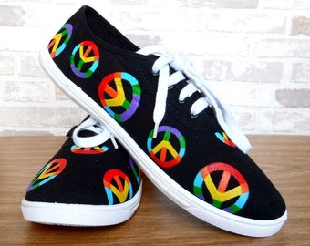 Hand Painted Sneakers, Hippie Peace Symbol Rainbow Shoes, Custom Sneakers, Paintes Shoes, Custom Shoes, Canvas Sport Shoes. Tennis Shoes.
