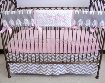 Pink & Gray Elephant Bumperless Baby Bedding: Findlay
