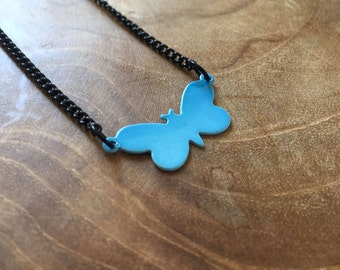 Blue Butterfly - a cute necklace with a little butterfly. Blue, black, cute, animal, butterfly, little, tiny