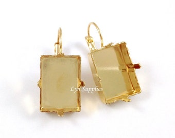 Gold Rectangle Step Cut Earrings Settings 1 Pair Fit Swarovski Crystal 18x13mm 4527 Nickel Free Leverback Earring Base