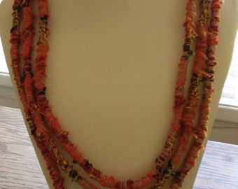 Fabric Wrapped Rope Necklace