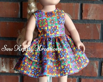 "MultiColor Flowers Doll Dress for 18"" doll like American Girl"