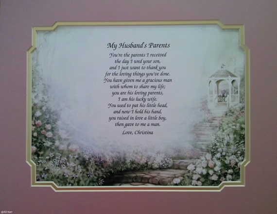 Sentimental Wedding Gift For Husband : Wedding Gift for My Husbands Parents Sentimental Personalized Poem ...