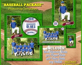 Baseball Template Package for Photoshop. Includes 8x10 Memory Mate, 5x7 Player Frame, 4x6 Team Mate and 2x3 Wallet Templates. Easy Use. 2016