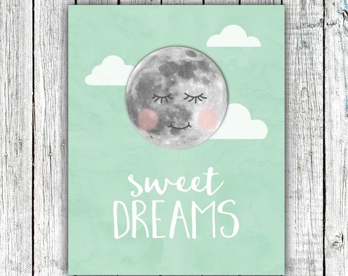Nursery Art Printable, Sweet Dreams, Moon, mint, nursery art, wall art, size 8x10 Digital Download #526