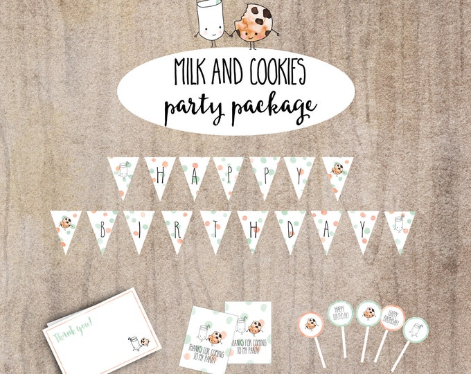 Milk and Cookies- Printable Birthday Package with Banner, Cupcake Toppers, Favor Tags and Thank you Card #22