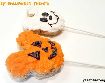 Halloween Mickey Rice krispie treats. Disney treats. Mickey rice krispie treats. Halloween treats. Minnie rice krispy treats. Disney
