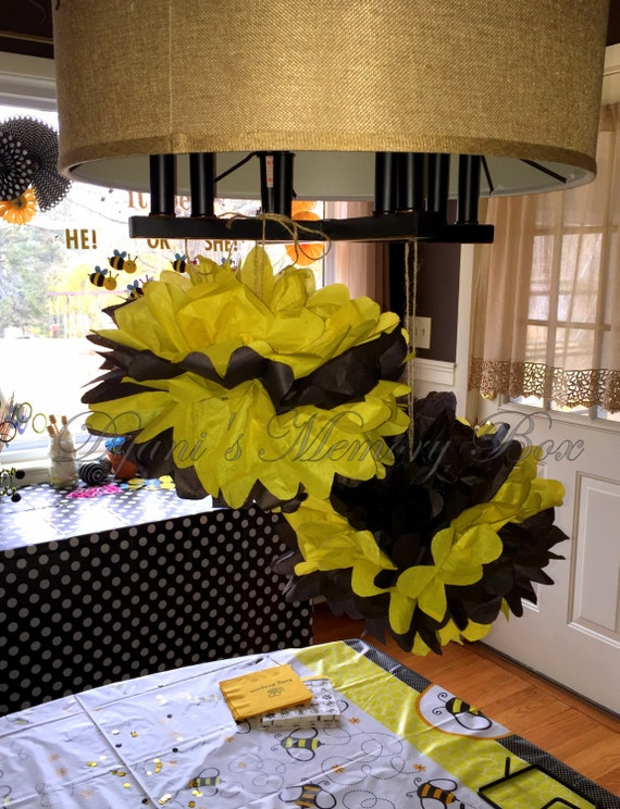 Set Of 6 Bumble Bee Handmade Tissue Paper Pom Poms What Would It
