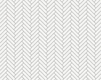 White and Cloud Gray Classic Herringbone Organic Fabric - By The Yard - Girl / Boy / Neutral